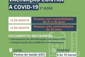 Covid-19: Pessoas de 29 a 31 anos serão vacinadas nesta semana em Manhuaçu