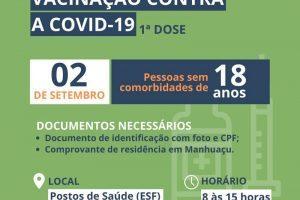 Covid-19: Manhuaçu vacinará pessoas de 18 anos nesta quinta, 02/09