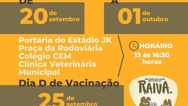 Campanha de Vacinação Antirrábica começa na sede do município
