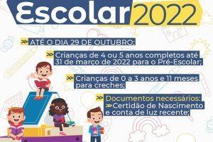 Aberto o Cadastramento Escolar 2022 para escolas municipais