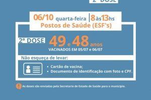 Covid-19: Manhuaçu vacina pessoas de 49/48 anos nesta quarta, 06/10