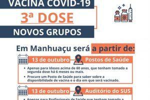 Manhuaçu começa a aplicar dose de reforço em idosos acima de 60 anos e profissionais de saúde